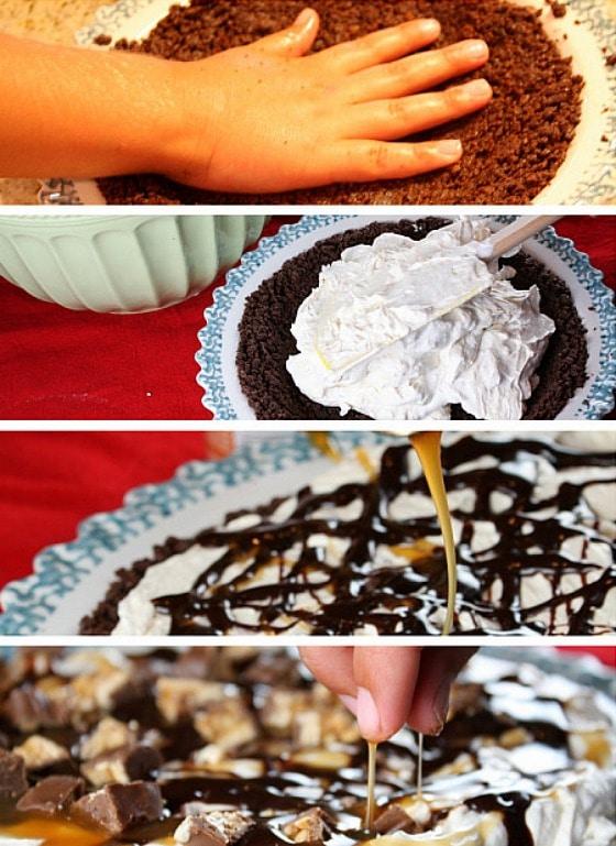 making a snicker's bar pie