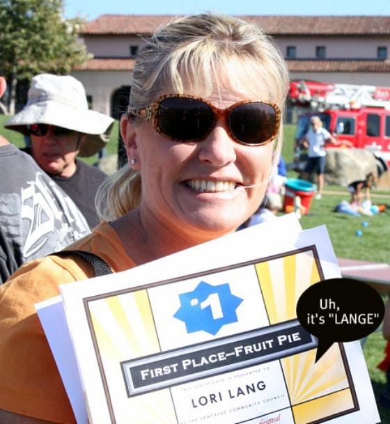 Lori Lange RecipeGirl pie contest winner