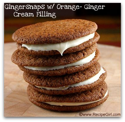 Gingersnaps with Orange Ginger Cream Filling