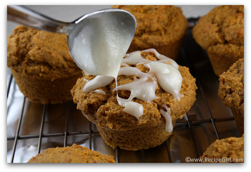 Whole Wheat Pumpkin Spice Muffins with Cinnamon- Cream Cheese Glaze
