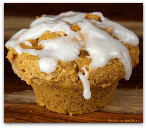 Whole Wheat Pumpkin Spice Muffins with Cream Cheese Glaze