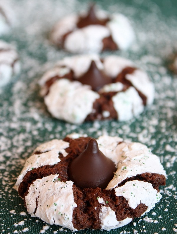 Chocolate Mint Crinkles with Mint Truffle Kisses