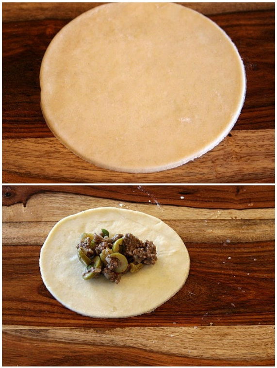 adding filling to beef empanadas
