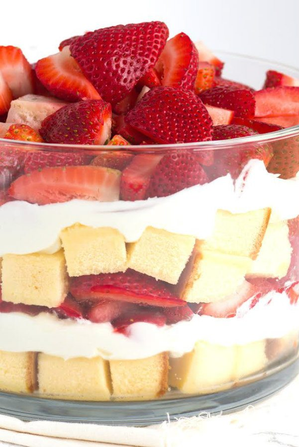 Layered Strawberry Trifle Recipe - RecipeGirl.com