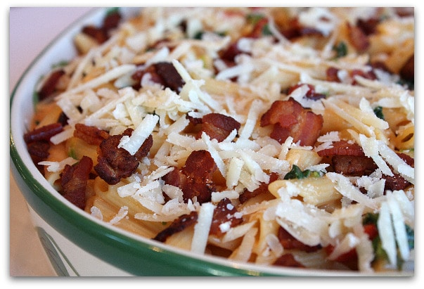 ... Challenge : Baked Penne with Spinach, Roasted Red Peppers and Bacon