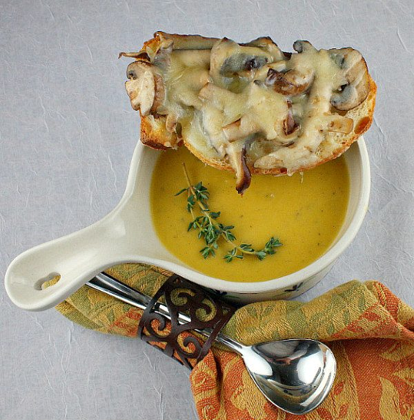 Bowl of Roasted Pumpkin Bisque with Mushroom- Gruyere Crostini