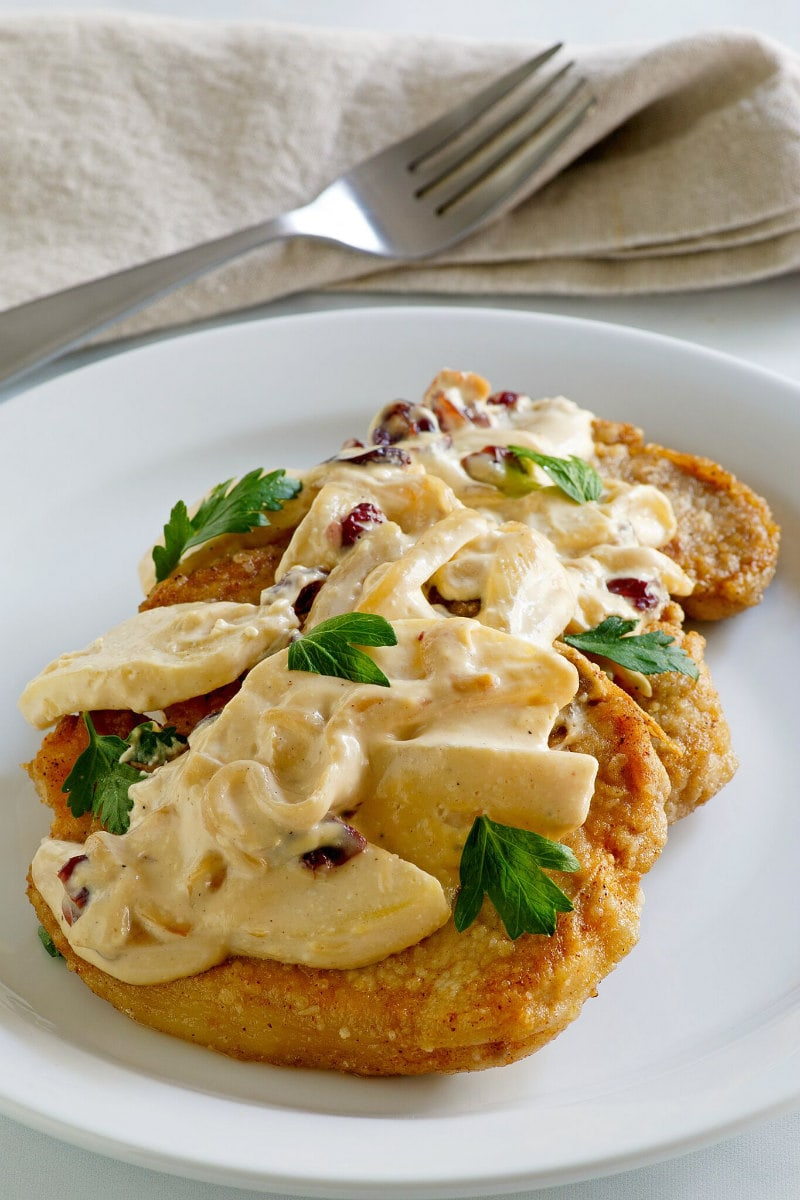 Pork Chops with Creamy Apple Cranberry Sauce