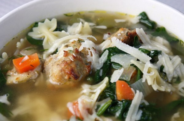 Bowl of Italian Wedding Soup with Parmesan