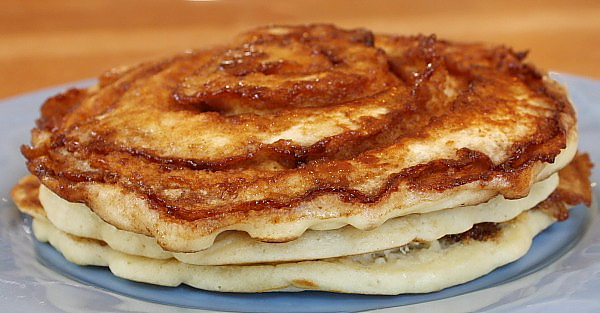 Stack of Cinnamon Roll Pancakes