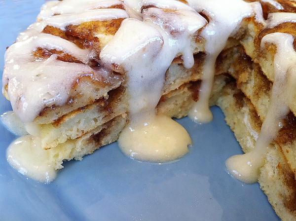 Cinnamon Roll Pancakes #recipe - RecipeGirl.com