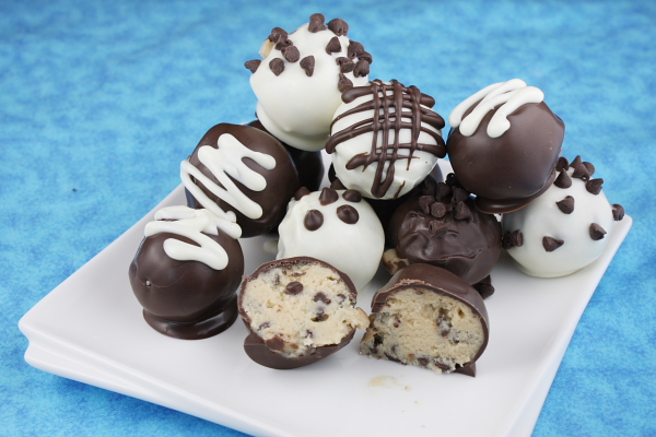 Chocolate Chip Cookie Dough Truffles on a white platter