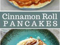 pinterest collage image for cinnamon roll pancakes