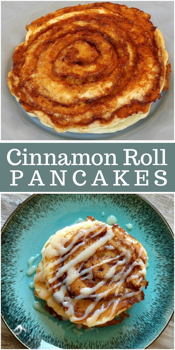 Cinnamon Roll Pancakes recipe from RecipeGirl.com #cinnamonroll #pancakes #recipe #RecipeGirl