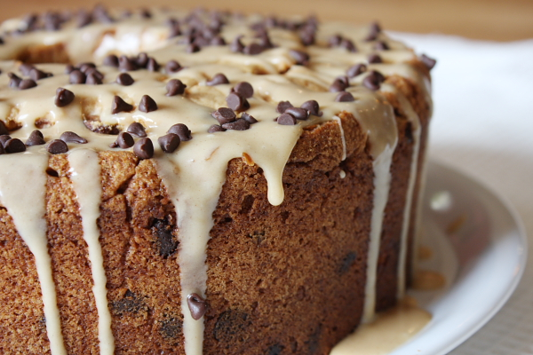 Chocolate Chip- Peanut Butter Pound Cake with Peanut Butter Glaze