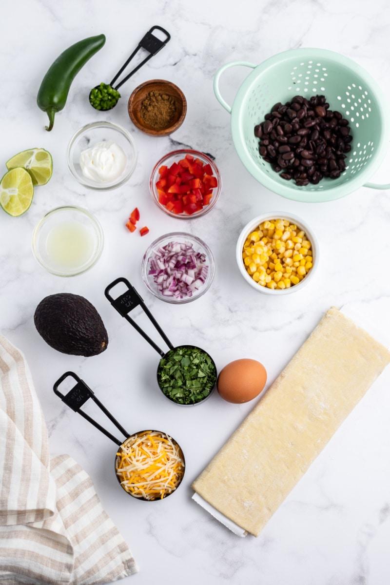 ingredients displayed for making southwestern bruschetta bites