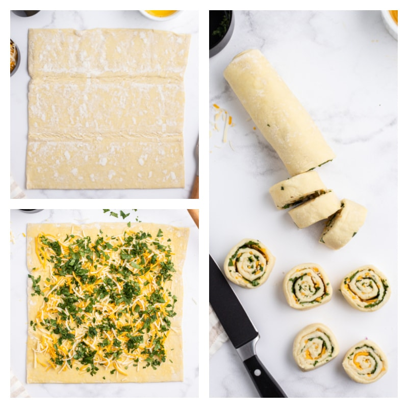 three photos showing process of making puff pastry rolls
