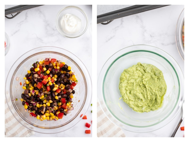 bowl of salsa and bowl of guacamole