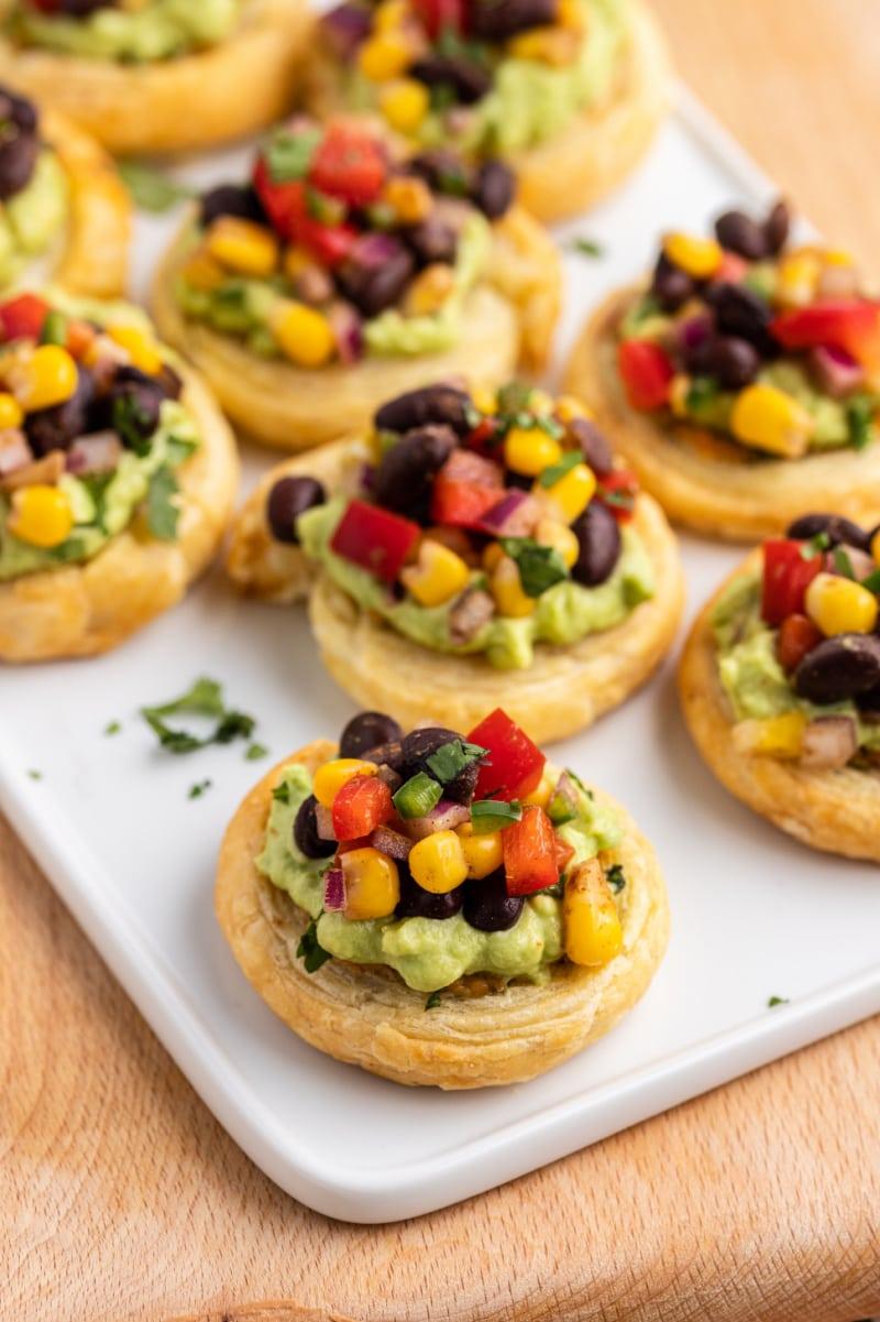 southwestern bruschetta bites on a platter