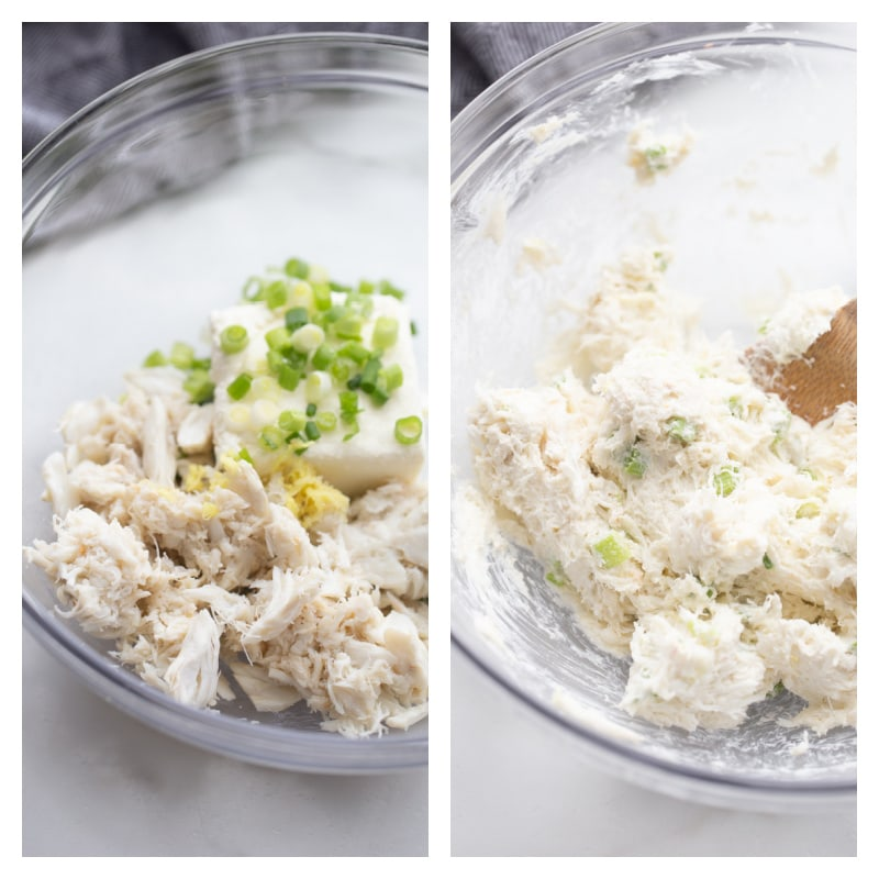 two photos showing bowl of ingredients for wonton filling and then mixed in a bowl