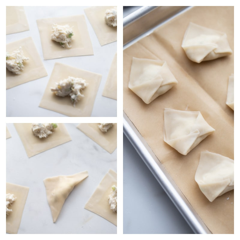 three photos showing process of filling and forming wontons