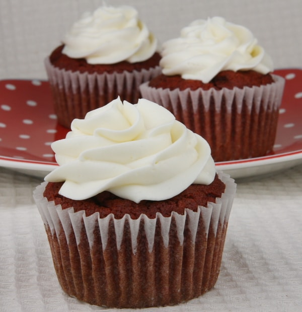 Gluten Free Red Velvet Cupcakes w/ Cream Cheese Frosting