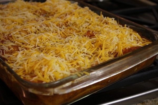 Easy Beef Enchiladas ready for the oven