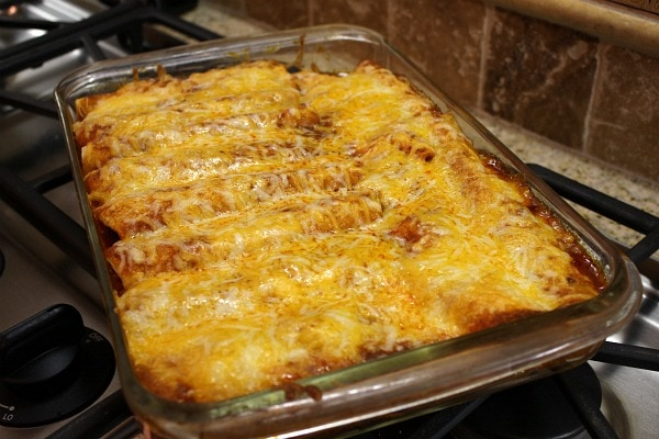 Easy Beef Enchiladas just out of the oven