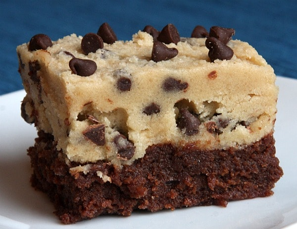 Chocolate Chip Cookie Dough Brownies #recipe - RecipeGirl.com