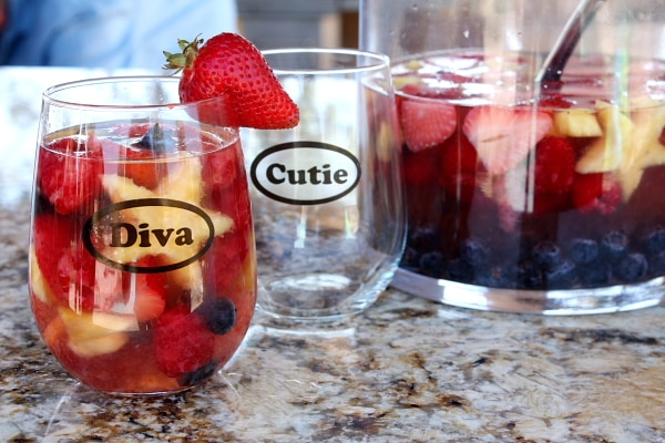Red, White and Blue Sangria - recipe from RecipeGirl.com