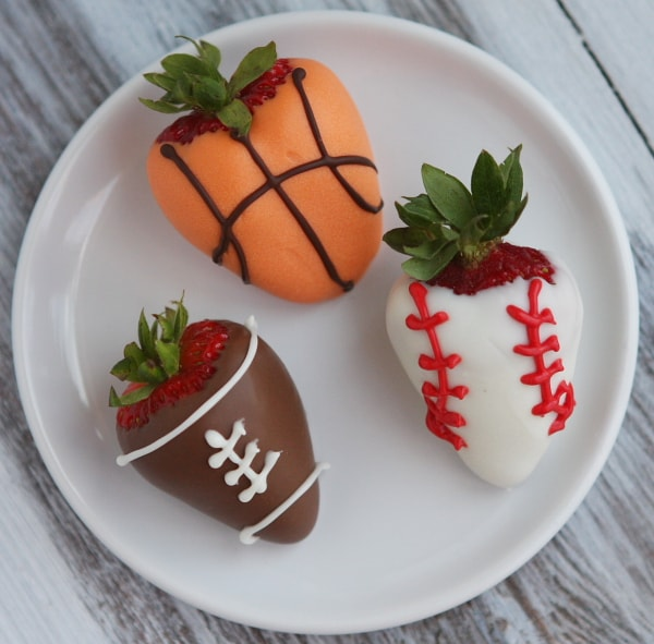 sports-dipped chocolate strawberries