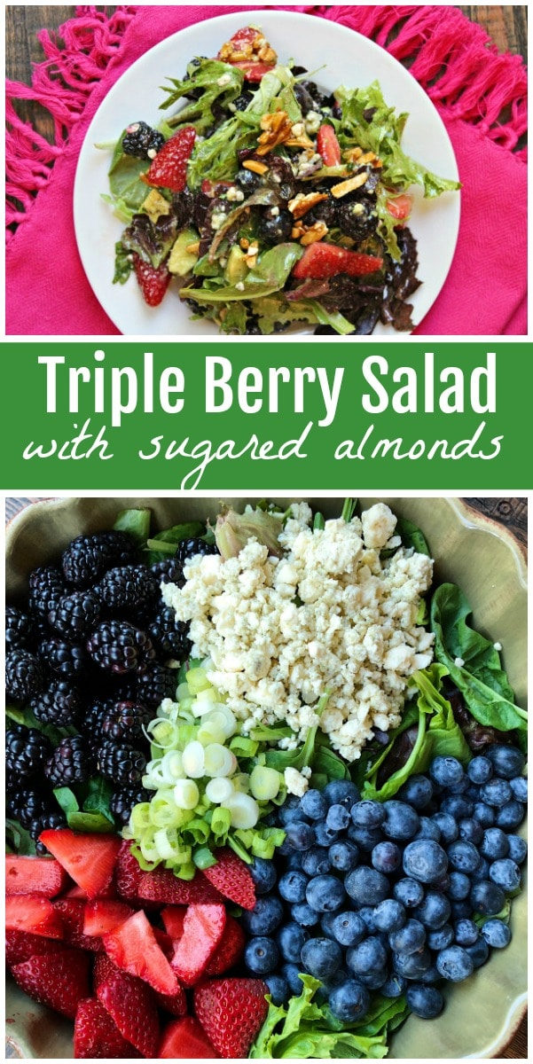 Triple Berry Salad with Sugared Almonds recipe from RecipeGirl.com #berry #salad #recipe #RecipeGirl