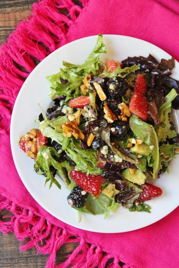 Triple Berry Salad plated