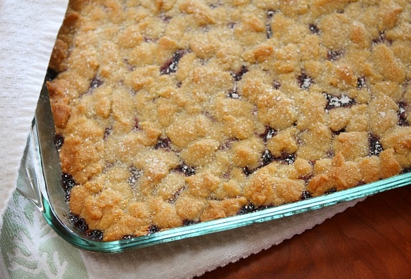 Pan of Blackberry Jam Shortbread Bars