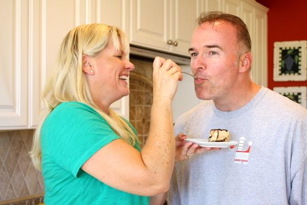 RecipeGirl feeding husband pie