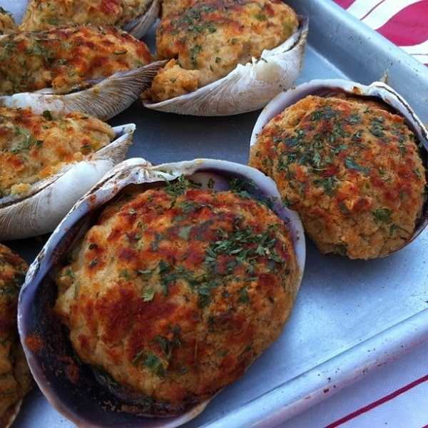 These are Stuffed Quahogs. Anyone know what a quahog is? It's a ...