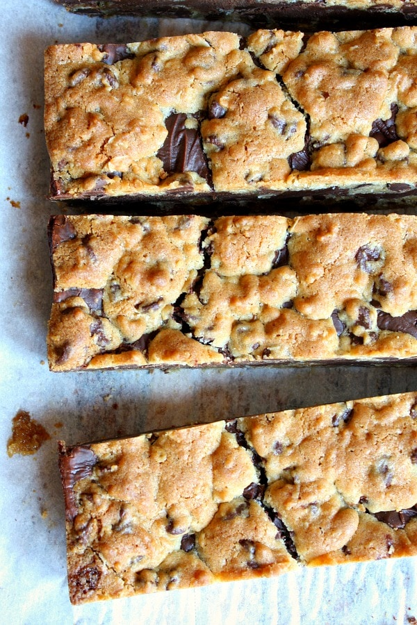 Gooey Chocolate Chip Sandwich Bars recipe - from RecipeGirl.com
