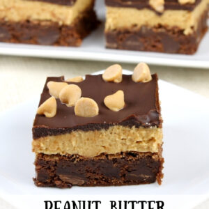 pinterest image for peanut butter cookie dough brownies