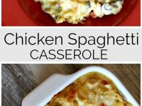 pinterest collage image for chicken spaghetti casserole
