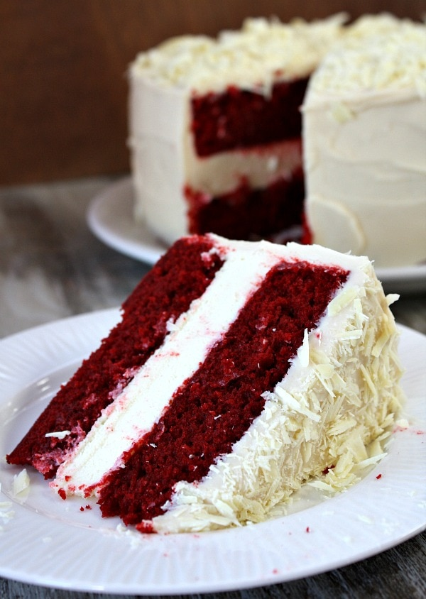 Red Velvet Cheesecake Cake recipe - from RecipeGirl.com