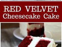 pinterest collage image for red velvet cheesecake cake