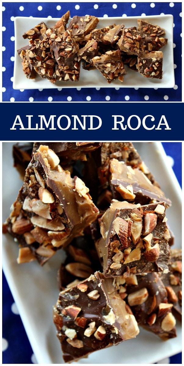 Easy homemade Almond Roca recipe by RecipeGirl.com #almond #roca #almondroca #recipe #candy #RecipeGirl