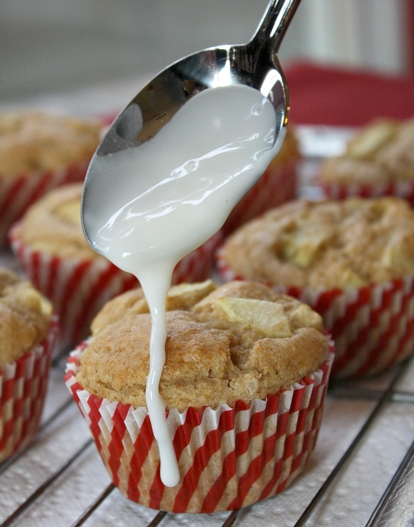 Apple Fritter Muffins with glaze