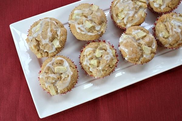 Apple Fritter Muffins on a white platter