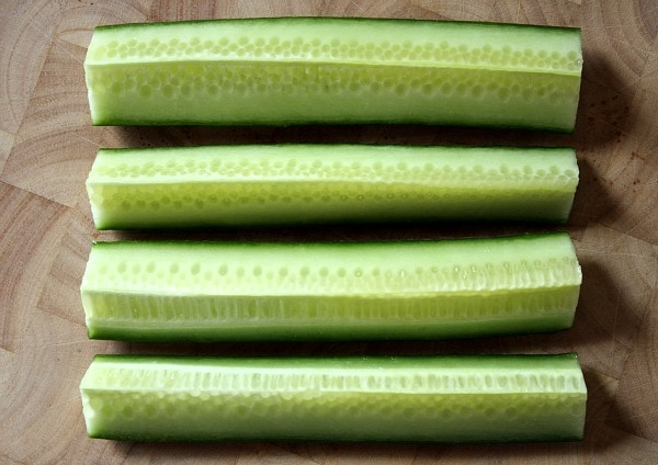 Cucumbers prepared for Cucumber Salad