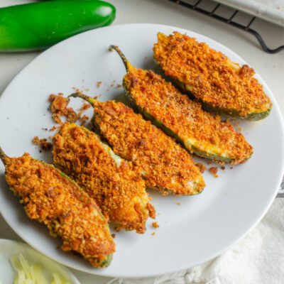 jalapeno poppers on a white plate