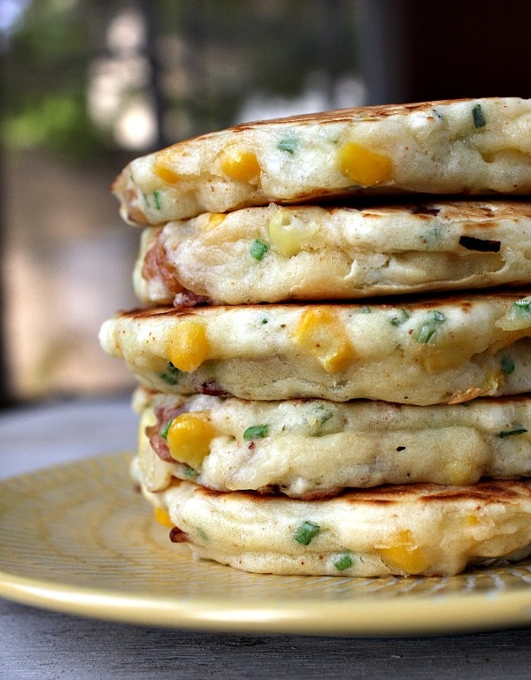 Bacon and Corn Griddle Cakes - a very popular recipe from RecipeGirl.com