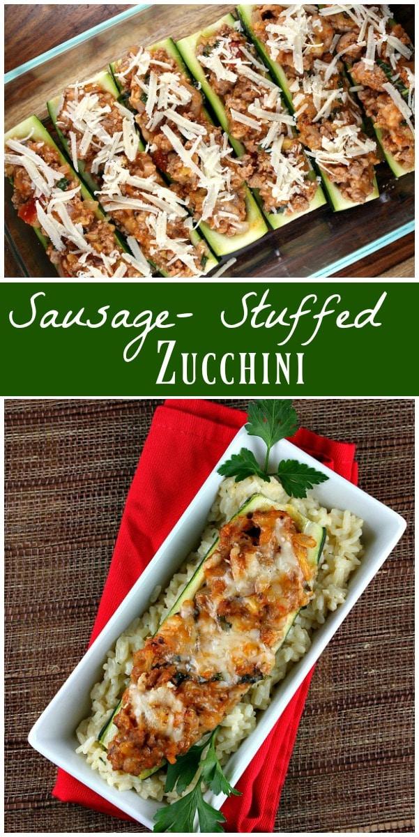 Sausage Stuffed Zucchini Boats Recipe: 241 calories per serving and 4 Weight Watchers SmartPoints (per boat). recipe from RecipeGirl.com