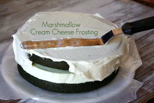 Marshmallow Cream Cheese Frosting on Green Velvet Cheesecake Cake