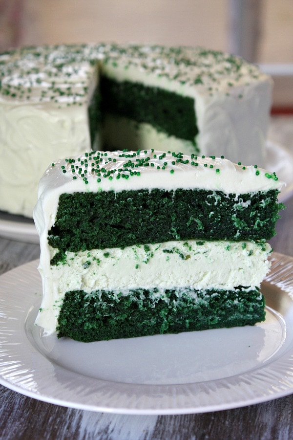 Slice of Green Velvet Cheesecake Cake