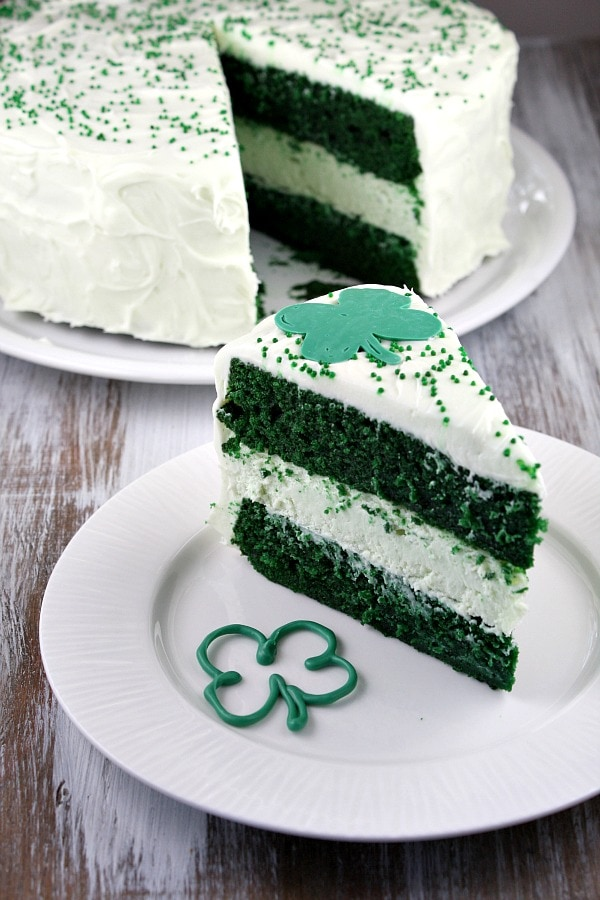 Serving Green Velvet Cheesecake Cake